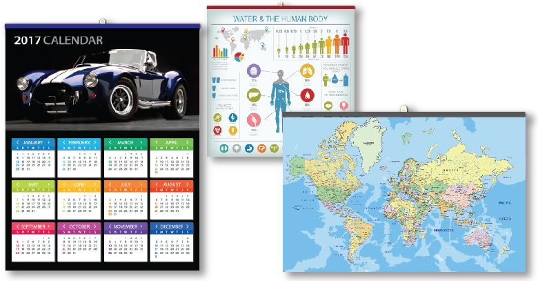 slides and tins for calendars, maps and posters